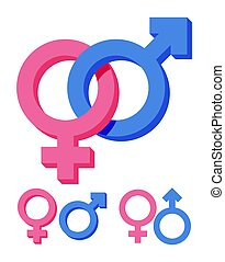 Pink and blue gender symbol isolated on white.