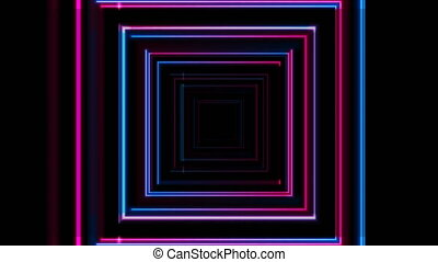 Pink and blue glowing neon tech squares abstract motion background