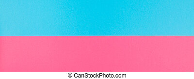 Creative bright pink and blue long wide banner with copy space in minimal pop art style, template for text