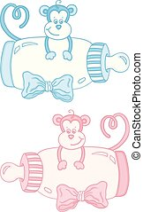 Pink and blue monkey with baby milk bottle