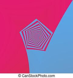 Pink and Blue Pentagon Spiral - Digital abstract fractal ...