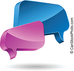 Pink and blue speech bubbles 3D icon.