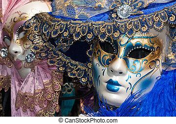 pink and blue venetian carnival masks