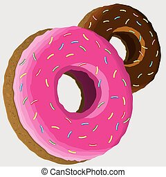 Pink and chocolate donuts. Vector illustration, icons.