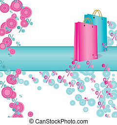 pink and cyan shopping bags vector abstract