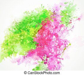 pink and green blots