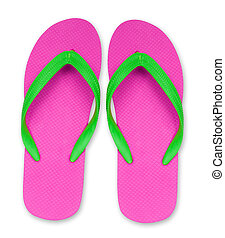 pink and green flip flop sandals isolated, included clipping path
