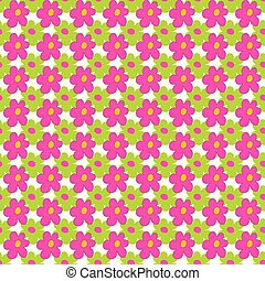 pink and green flowers on a light background seamless pattern vector illustration