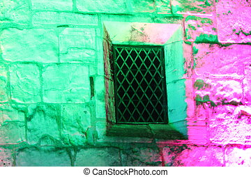 Pink and Green Medieval Floodlit Wall. - Medieval wall ...