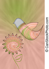 Pink and green retro flower background