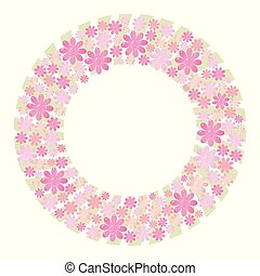 Pink and lilac lush vector wreath made from elements of flowers and hearts with light green pastel color strips of boards on the bottom layer of an object isolated on white background.