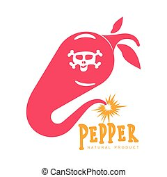pink and orange of chili pepper vector logo illustrations