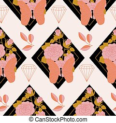 Pink and orange roses and butterflies in a seamless pattern design