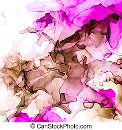 Pink and peachy shades watercolor background, wet liquid inks