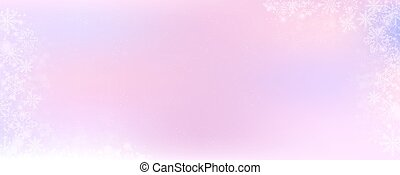 Pink and purple gradient winter banner background with the snow and snowflake border