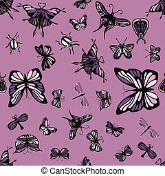 Pink and purple insects seamless pattern
