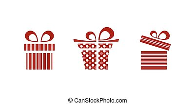 Pink and red gifts icon set on white background