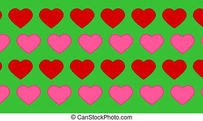 pink and red hearts pattern on a green background - animation