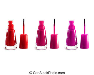 nail polish - Pink and red nail polish on white background