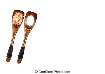 Pink and sea salt on a wooden spoon, isolated on white. Traditional spices. Sea salt in wooden scoop.