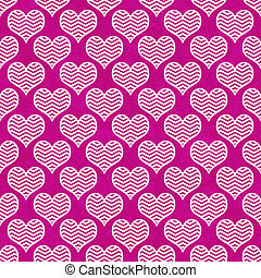 Pink and White Chevron Hearts Pattern Repeat Background