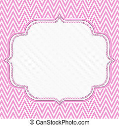 Pink and White Chevron Zigzag Frame Background with center...