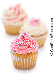 Pink and white cupcakes - Trio of pink and white cupcakes ...