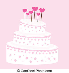 cute cake - pink and white cute cake over pink background....