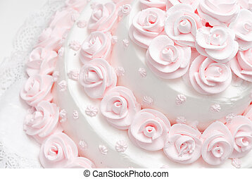 wedding cake - Pink and white delicious luxurious wedding...