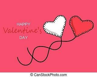 Pink and white heart. Valentine's day greeting card