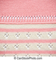 Pink and White Knit Fabric Texture