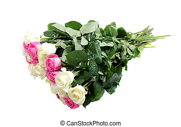 Pink and white roses bouquet isolated on white background.