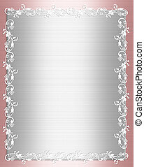 illustration composition of pink and white satin ornamental border for wedding, party, birthday invitation background, frame with copy space,