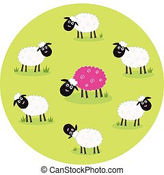 Stylized vector illustration of sheep family. The pink sheep is different and standing alone. Is this sheep with new hair color trendsetter? Or it's just genetic modification?