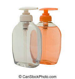 Pink and White Soft Soap in Dispensers. Isolated, Clipping...