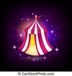 Pink and white tent icon for game design, medieval fair, circus, amusement park, vector illustration