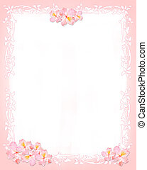 Pink and whiter stationery with flowers and floral elements