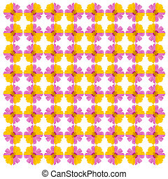 Pink and yellow cosmos seamless pattern background