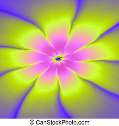 Pink and Yellow Daisy - Digital abstract fractal image with...
