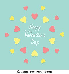 Pink and yellow heart frame background. Flat design Happy Valentines day card