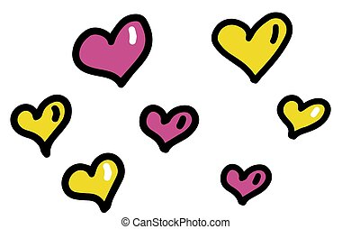 Pink and yellow hearts set for wedding and valentine design. Doodle vector illustrations isolated on white.