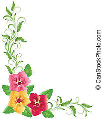 Pink and yellow pansies with green floral ornament