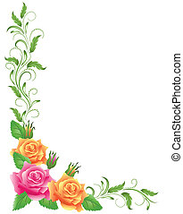 Pink and yellow roses with green floral ornament