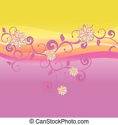 pink and yellow vector background with flowers