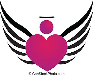 Pink Angel icon logo design vector illustration