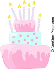 Pink anniversary cake with candles decorations in light pastel colors. EPS10