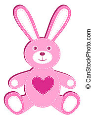 Pink applique hare. Isolated on white. Vector illustration.