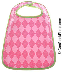 Pink Argyle Baby Girl Bib Isolated on White with a Clipping...