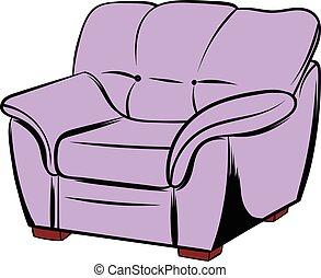 Pink armchair icon cartoon