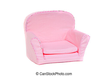 Pink armchair isolated on white background